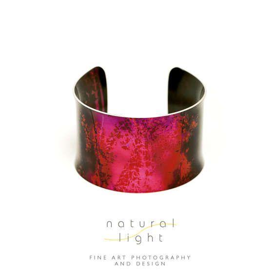 Cuff Bracelet - Tall Grass Purple And Orange And On Fire - Handmade Jewelry - Anniversary Gift for Her - Boho Wedding - Nature Jewellery