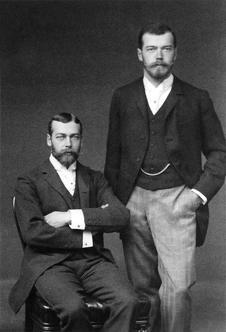 Tsar Nicholas II of Russia, right, and his cousin Prince George, Duke of York and the future George V. Nice cufflinks and watch chain.