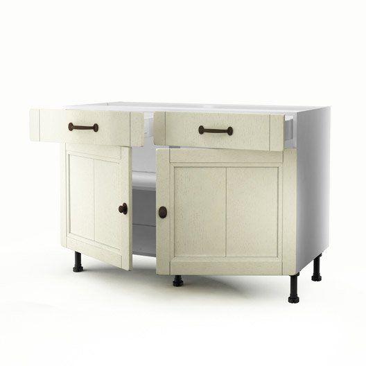 Meuble de cuisine bas beige 2 portes 2 tiroirs tradition for Meuble 2 porte cuisine