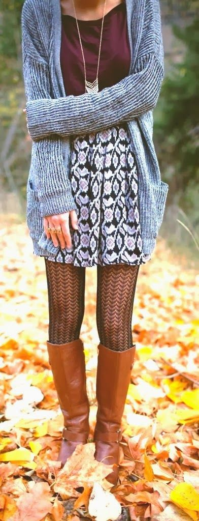 Fall Outfit With Over sized Cardigan and Comfy Skirt, would of never thought of pairing all these items together but it is adorable.
