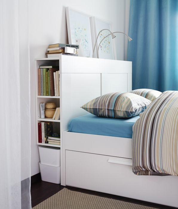 Secret storage! Maximize your space with the BRIMNES storage headboard and under bed drawers! Smart!