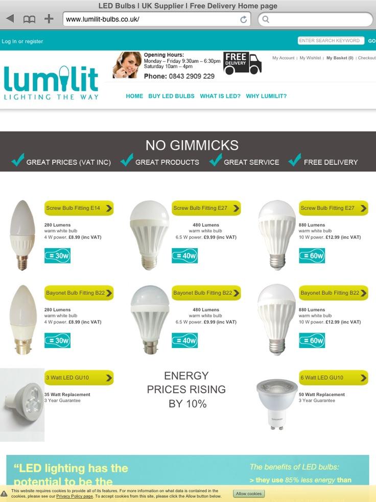 Lumilit  LED Bulbs  E-commerce website designed and developed by www.online-guru.co.uk