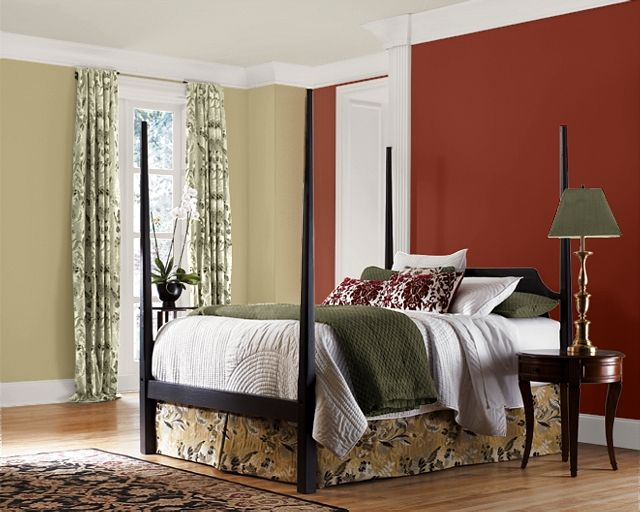 accent wall color for bedrooms |  brick red accent wall as well