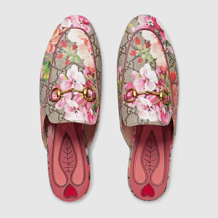 Gucci: Princetown GG Blooms slipper in Pink Blooms Print