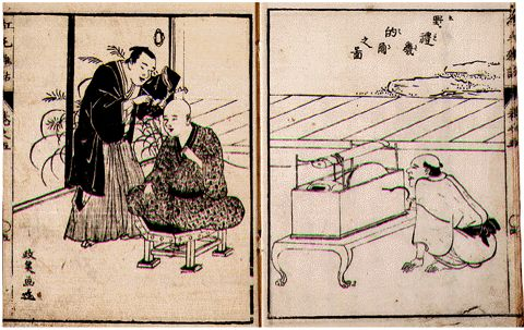 A demonstration of the Elekiter from an old Japanese book. Book is from 18th-century Japan, so is in the public domain. There are several wires linked to a test subject.