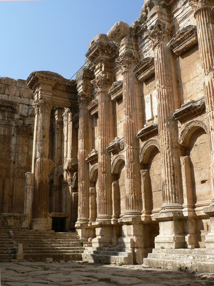 The ruins of the Roman Temple of Bacchus at Baalbek, Lebanon.