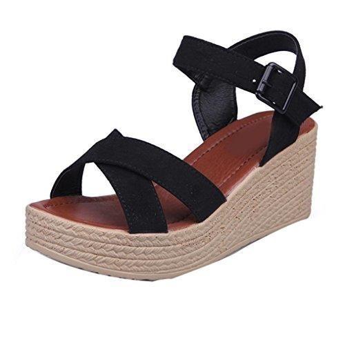 Oferta: 13.5€. Comprar Ofertas de Sandalias de vestir, Culater Zapatos mujer plataforma bajos Zapatillas (39, Negro) barato. ¡Mira las ofertas!
