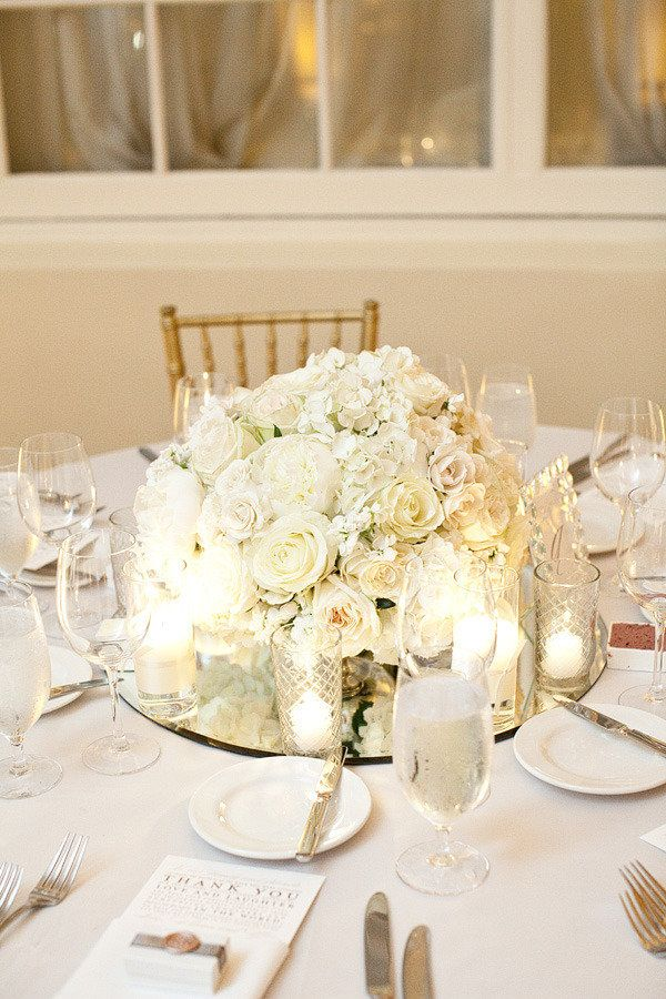 pretty flowers.. would want a little more pink in there too.. like the mirrored centerpiece idea with little candles