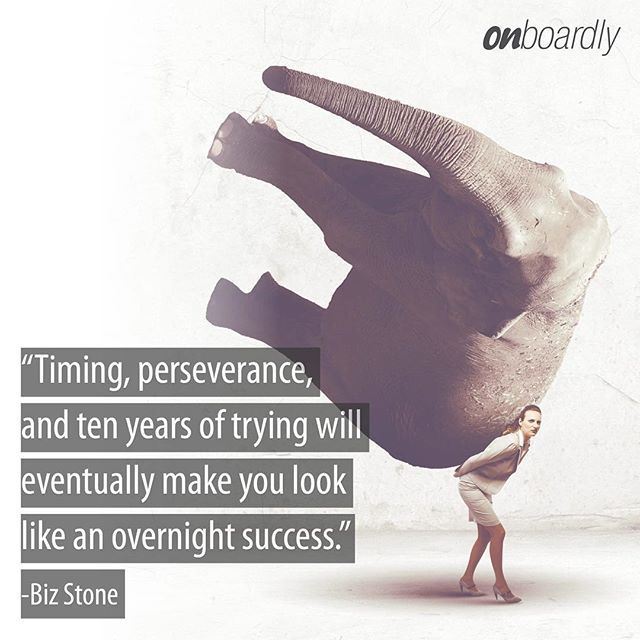 """""""Timing, perseverance, and ten years of trying will eventually make you look like an overnight success""""- @bizstone  #motivationmonday #success #entrepreuneur"""