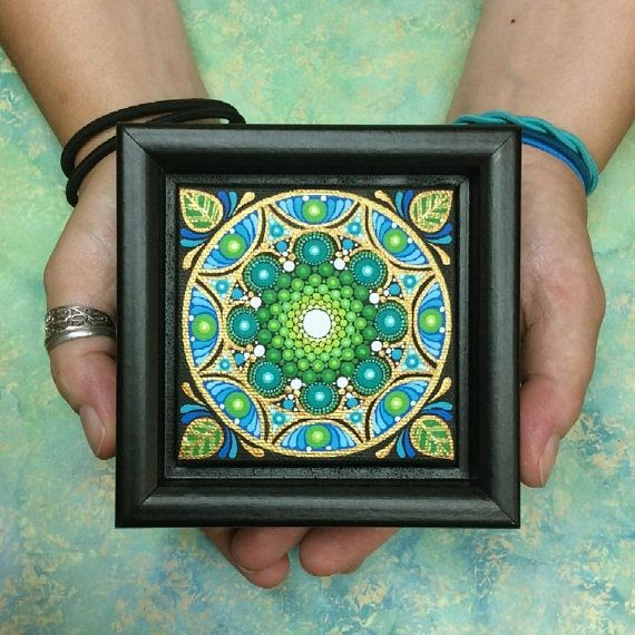 My mandala framed paintings can be hung square or diamond, or can even stand on their own if you prefer. Each one is hand painted on a 3 x 3 x 3/4 canvas, and protected with two coats of matte varnish before being set in a beautiful 4 1/4 wood frame. Ive always loved painting on