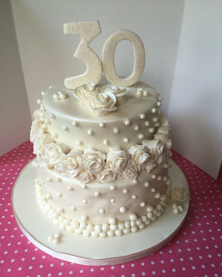 30th wedding anniversary cake - pearl anniversary so gorgeous pearl details with handmade roses