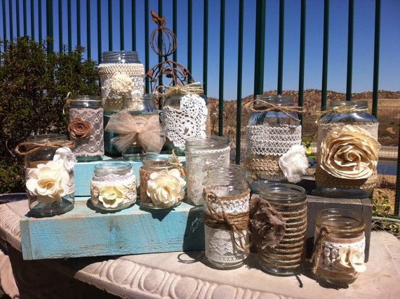 set of 24 bulk mason jar centerpieces head table decor