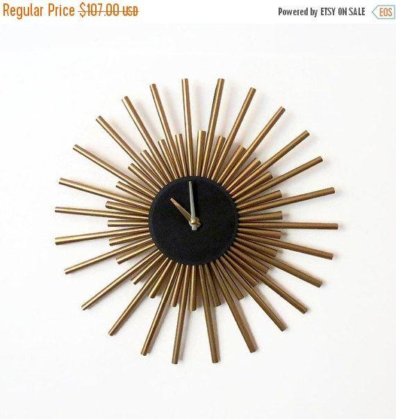Wall Clock Sunburst Gold Living Room Home Decor