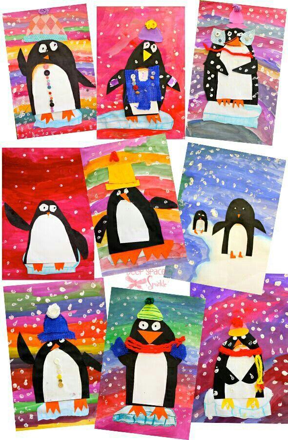 Pinguins: mixed media: achtergrond verven, pinguin van papier , kleding van stof.
