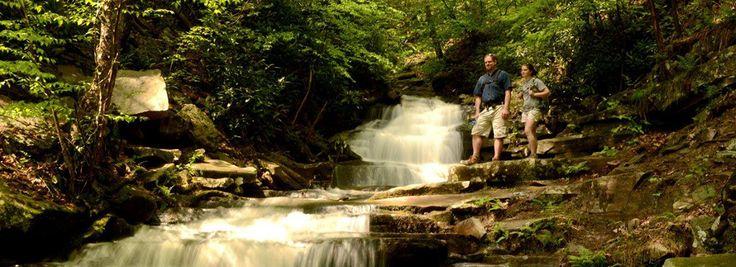 Las cascadas Rainbow en el parque estatal Trough Creek, Pensilvania.