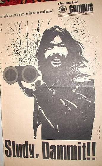 Stephen King in 1970 University of Maine campus poster - Study Dammit!