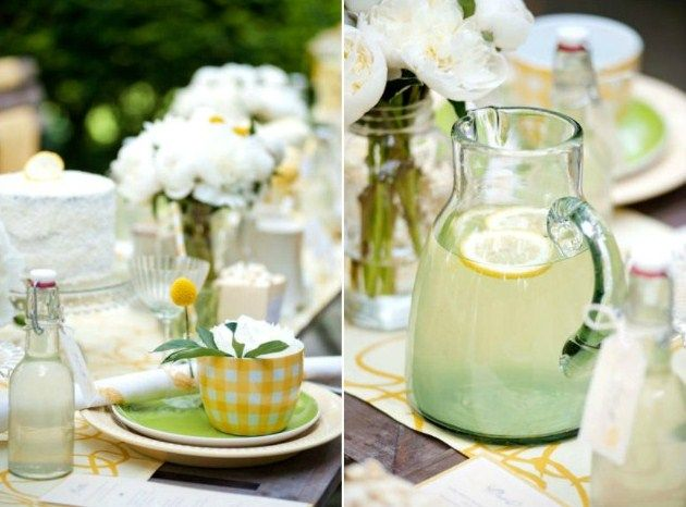 pretty: Parties Things, Parties Decorations, Parties Bridal, Tea Parties, Parties Ideas, Yellow Parties, Teas Parties, Stands Parties, Lemon Parties