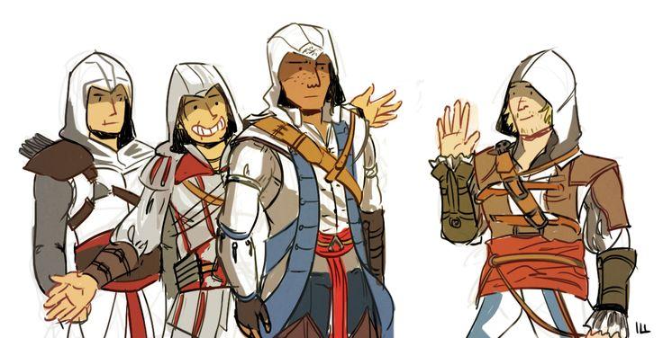 Altiar, Ezio, and Connor welcoming Edward. Lol love Ezio's face