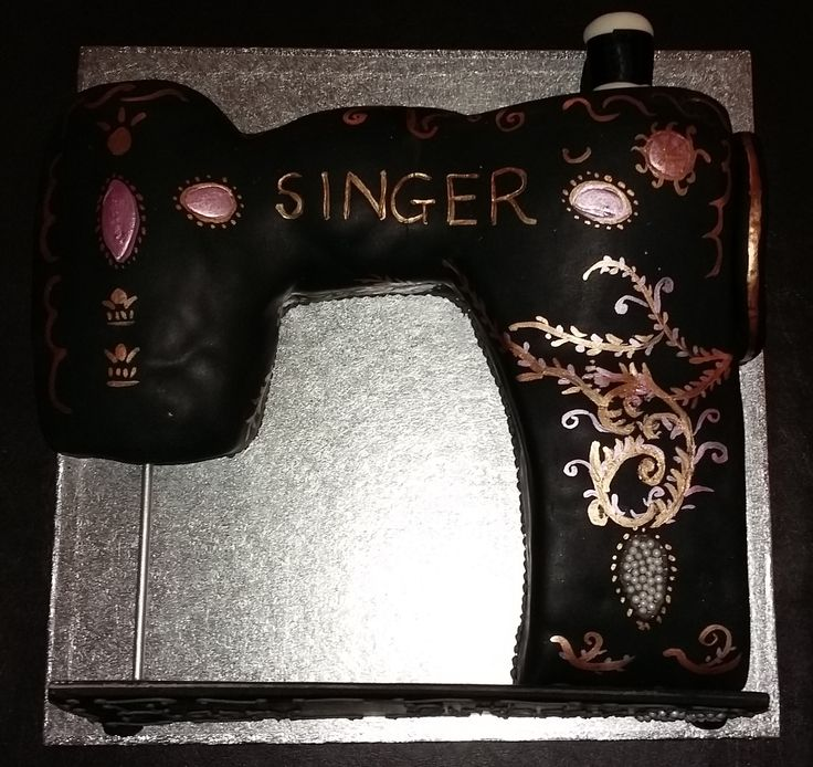 Sewing Machine Cake; sponge on the left - fruit cake on the right - a treat for all