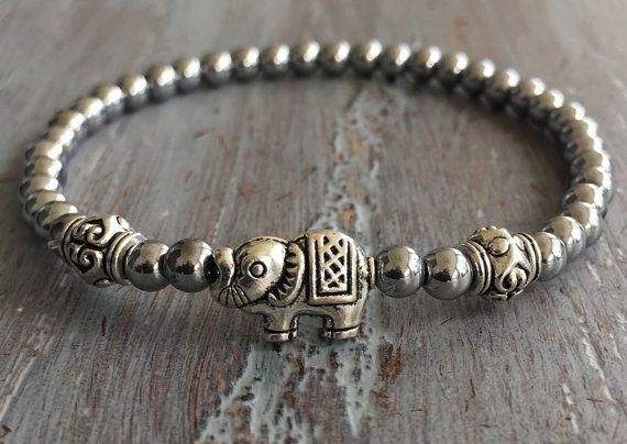 Hematite Elephant Bracelet, Elephant Jewelry by indietiez
