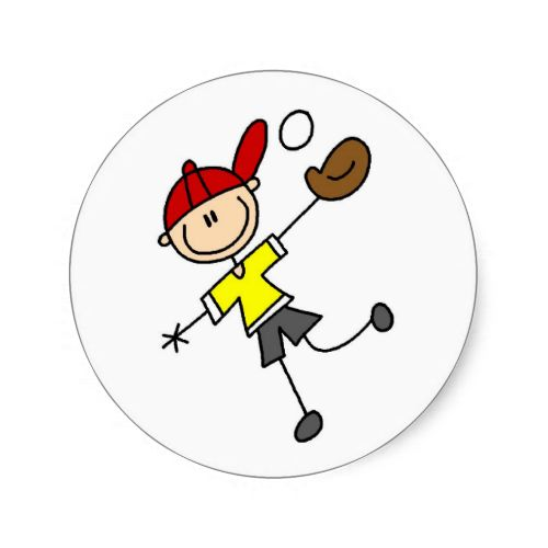 Stick Figure Baseball Sticker