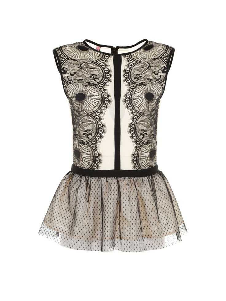 TOP PEPLO IN TULLE E PIZZO