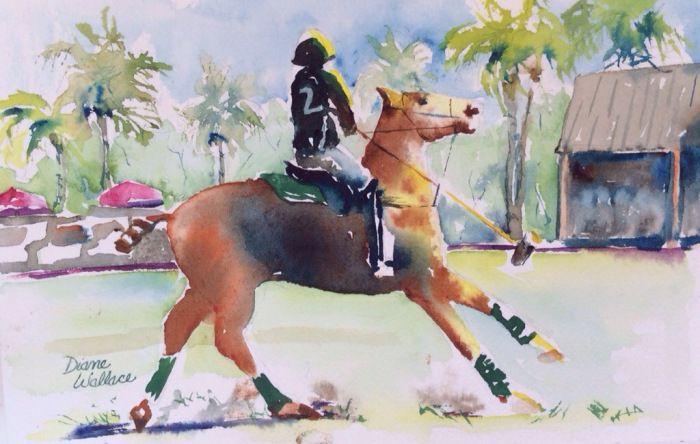 """Watercolor 6""""  9"""" $75.  Polo, Polo Player, Polo pony, horse, horses"""