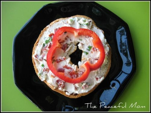 Kid Snack: Mini bagels with Sundried Tomato Spread from ThePeacefulMom.com  #kids  #snack  #backtoschool