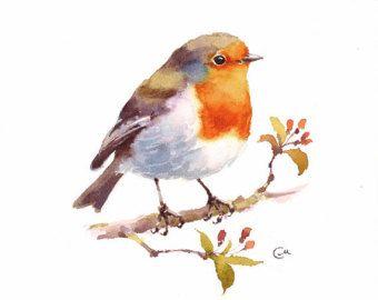 Gimpel Original Aquarell Vogel Malerei 7 4/5 x 7 von CMwatercolors