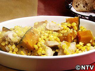 鶏肉、かぼちゃ、コーンのバター煮のレシピ|キユーピー3分クッキング