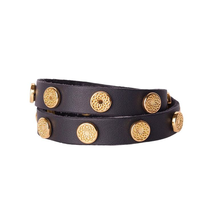 Whether you're wearing jeans or a little black dress, this black leather wrap with gold studs is sure to be your new favorite bracelet.  Product Material - Genuine leather with Zinc Alloy studs
