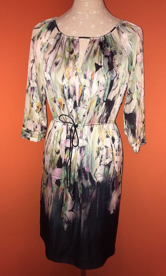 ELIE TAHARI Multicolor Silk Drawstring Waist Watercolor Abstract Sheath Dress 4 #ElieTahari #Shift #Casual