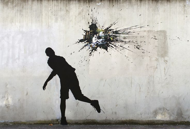 Man throwing a  water balloon on the wall by: Silvestre, , Santander is one of the most internationally renowned urban artists. Known by the name of Pejac , he graduated in Fine Arts in Salamanca, Barcelona and Milan, and was in Italy where he became interested in urban art. Unlike many urban artists, he began to develop his art paper or canvas and exhibited his works in art galleries.