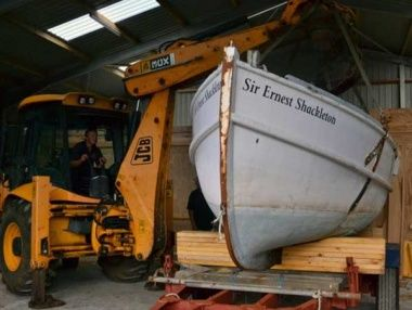 The James Caird replica Sir Ernest Shackleton will be painted before being exhibited in Cambridge. Photo Trevor Potts.