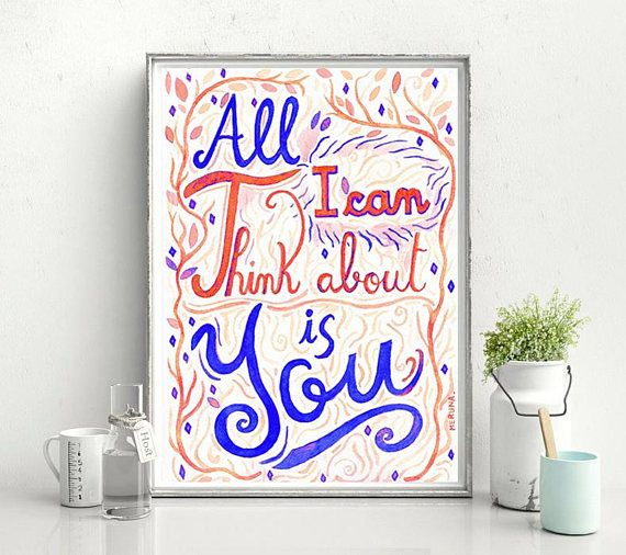 Coldplay Lyrics All I Can Think About Is You Lettering Poster