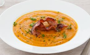 Pumpkin and Kumara Soup with Crispy Bacon