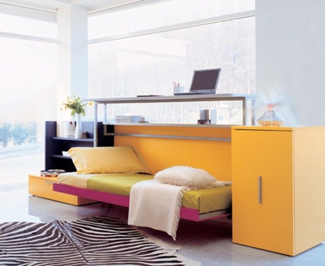 Lovely Comfortable Functional Folding Bed Design With Small Work Space Ideas