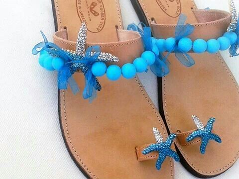 Leather sandal so with rhinestone starfish, beads and ribbons