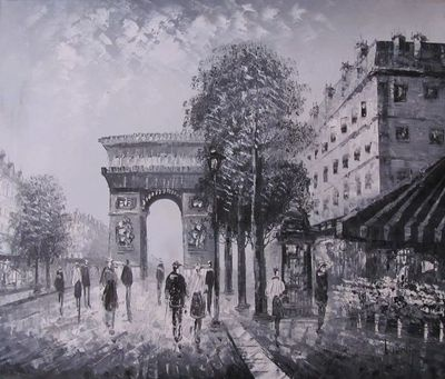 Beautiful Achromatic Parisian Street Oil Painting by Burnett-rubylane/Cameleon