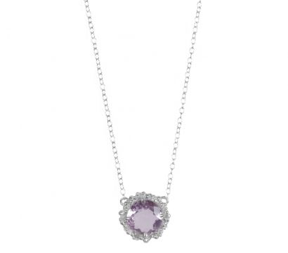 Sterling silver pendant with peppered texture and round faceted Amethyst drop. Stone size 10mm. Other stones are available. http://mounir.co.uk/collections/sunflower/4733_amethyst_peppered_pendant