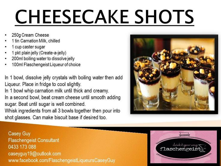 Cheesecake Shots!!!! Can be made using any of our Flaschengeist Liqueurs!!