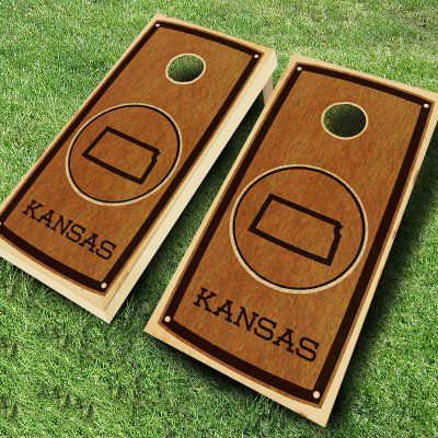Ajj Cornhole State Stained Cornhole Set 4 Red/4 Yellow Bean Bags - 109-STATE STAIN KANSAS RED/YELLOW