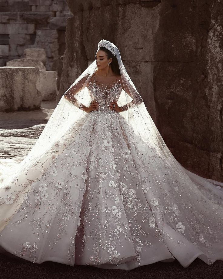 Great Luxury Beading Floral Bridal Gowns   Sheer Neck Long Sleeves Ball Gown Wedding D…