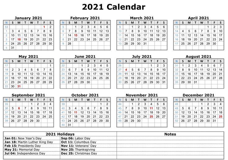 2021 Printable Calendar With Holidays | Printable yearly ...