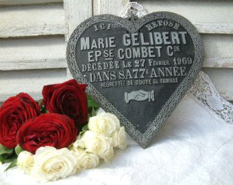 French vintage funerary plaque. Cast iron ornate heart. Memento mori. Tombstone plaque. 1960s