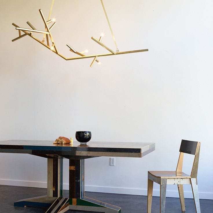 Light Inspiration Swood Dining Table And Chair By Piet Hein Eek And Linden Chandelier By Charles De Lisle At The Future Perfect