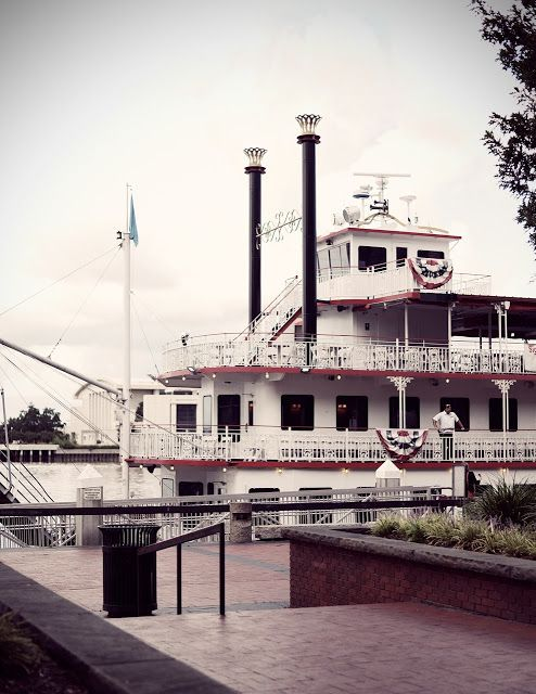 The Savannah River Queen docked at River Street in Savannah, Georgia.  Hubby used to work for that company.  Those were good times!