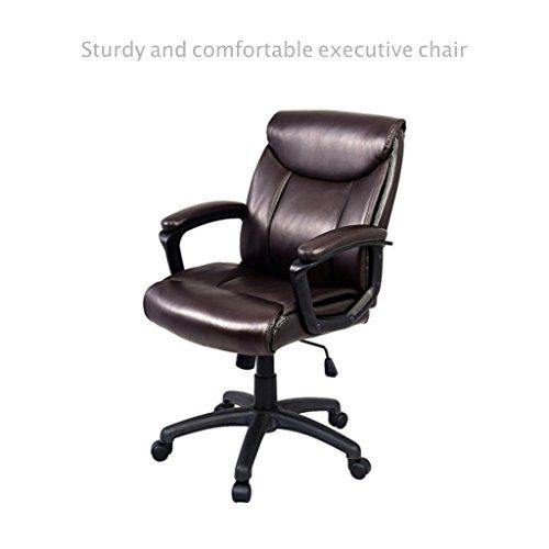 Posture Executive Leather Chair Chairman Mao Mid Back Office Ergonomic Support Computer Desk Task Solid Construction Frame 360 Degree Swivel Premium Pu Padded Home Decor