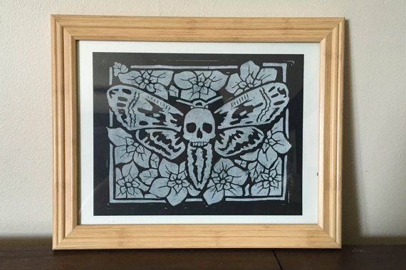 Death's Head Hawkmoth  Block Print by DustinWyattPrints on Etsy