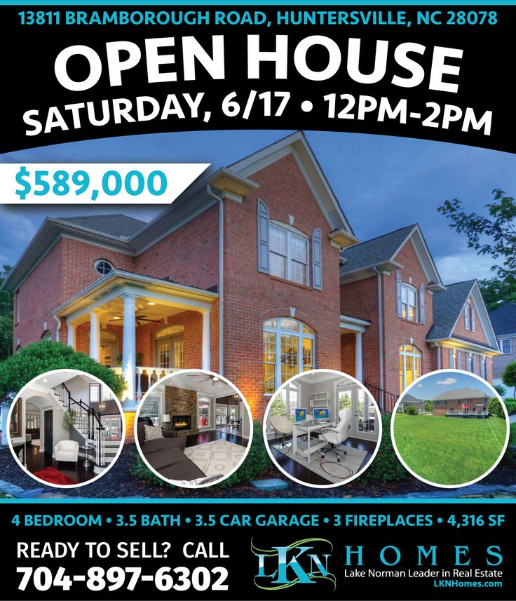 """OPEN HOUSE THIS SATURDAY, JUNE 17TH FROM 12PM-2PM IN """"THE RESERVE"""" AT NORTHSTONE CLUB!      AT: 13811 Bramborough Road, Huntersville, NC 28078    Gorgeous home located in """"The Reserve"""" at Northstone Club. This 4 bedroom, full brick transitional home has all of the amenities of a one-of-a-kind home. Over $160k in Renovations and Upgrades completed in April of 2017. You and your friends will love cooking in this Gourmet Kitchen with Oversized Island and High-End Stainless Steel Appliances…"""